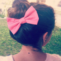 BIG PINK bow hair bow