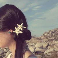 Buy One Get One Free Sale Double Starfish Barrette White Knobby Sea Stars Cute Adorable Beach Boho Elegant Romantic Whimsical Dreamy Mermaid