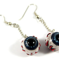 Eye Ball and Chain Earrings, Eye Earrings, Jewelry, Handmade