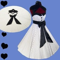 New POLKA DOT Rockabilly 50s FULL SKIRT Swing Dress M Black Pinup Prom PARTY Bow | eBay