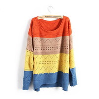 Neckline Orange Spell Color Stripe Casual Sweater