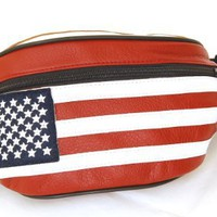 Genuine Leather USA Flag Fanny Pack, Stars