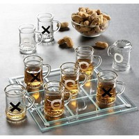 Tic Tac Toe Shot Glass Drinking Game Set w Mini Beer Mugs
