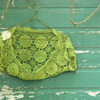 Fun shabby chic farm girl moss green crochet by RecycledFabric