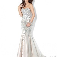 Beaded Mermaid Evening Gown 3008