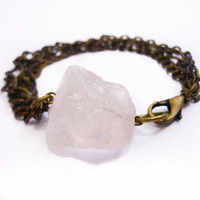 Raw Rose Quartz & Mixed Brass Chains Bracelet by AstralEYE on Etsy