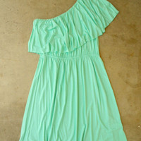 Sweet Ruffled Mint Dress [2694] - $32.00 : Vintage Inspired Clothing &amp; Affordable Fall Frocks, deloom | Modern. Vintage. Crafted.
