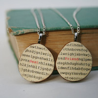 Best friend necklace set word search wood by starlightwoods