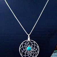 DREAM IN TURQUOISE Dream catcher pendant with twenty inch sterling silver chain