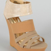 Bamboo Dreamer-07 Strappy Open Toe Platform Wedge