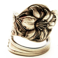 Art Nouveau Trumpeting Lily Sterling Silver Spoon Ring, Handmade in Your Size (3536)