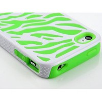 Amazon.com: Pandamimi Stylwire Green White Zebra Combo Hard Soft High Impact Armor Skin Gel Case for iPhone 4/4S/4G: Cell Phones &amp; Accessories