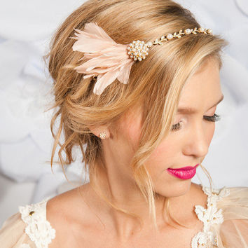 Golden feather headband - Aurelia | birdcage veils, bridal accessories by tessa kim