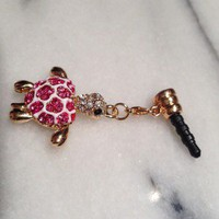 Cute Turtle Tortoise Rhinestone Cell Phone CHARM Dust cap Earphone Jack Plug