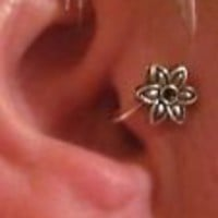 SILVER PLATED EAR CUFF- EARRING - TRAGUS EAR CUFF- NO PIERCING - FLOWER - # 3