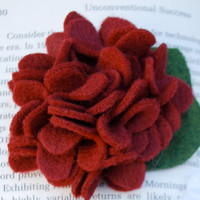Felt Flower Bloom Shown in Crimson or Grey with by PosiesandPetals