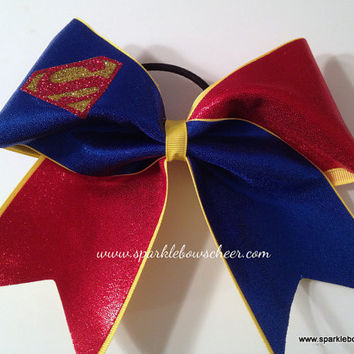Super Steel Super Hero Cheer Bow Hair Bow by SparkleBowsCheer