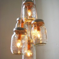 Autumn&#x27;s Glow  Mason Jar Chandelier Lighting Fixture by BootsNGus