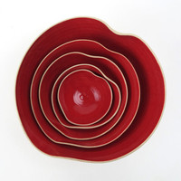 cupidOo red bOwl set of 5 MADE TO ORDER by atelierOKER on Etsy