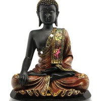 Black Buddha Statue with Mosaic Design on a Base - 10 Inches High