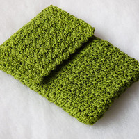 Green Cotton Crochet Cell Phone Pouch by SunisSerendipity on Etsy