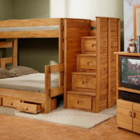 Duke Twin over Full Stairway Bunk Beds