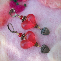 Earrings Victorian Hearts Lucite Beads