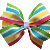 Adorable striped hair bow - 4 inch bow