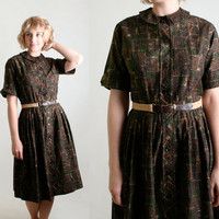Vintage 1950s Cotton Dress - Tribal Safari Geometric Screen Print Day Dress - Medium to Large
