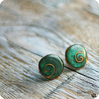 Post earrings Forest green by Dariami on Etsy