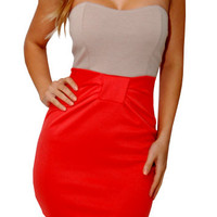 Moved In (Tan/Orange)-Great Glam is the web's best online shop for trendy club styles, fashionable party dresses and dress wear, super hot clubbing clothing, stylish going out shirts, partying clothes, super cute and sexy club fashions, halter and tube to