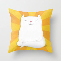 Meditating Kitty Throw Pillow by Dale Keys | Society6