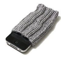 Knit iPhone 4/4S Cozy - iPhone Sleeve - Gray - Acrylic Yarn