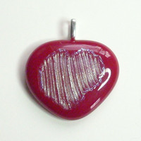 Red Heart Pendant and Silver Pendant Necklace Fused Glass