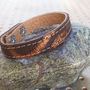 Brown With Bronze Pattern Leather Bracelet by Justlena on Etsy