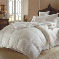 Super Soft White Goose Down Alternative Comforter (Duvet Cover Insert) Queen Size -45 Ounce Filled