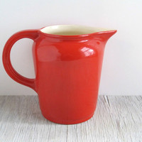 Vintage Red Pottery Pitcher   Retro Kitchen by GoldenDaysAntiques