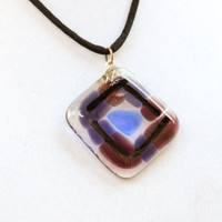 mosaic Fused glass pendant necklace purple by eyeseesage on Etsy