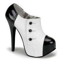 Black & White Tuxedo Bootie - Unique Vintage - Cocktail, Pinup, Holiday & Prom Dresses.
