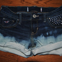 Ombre rhinestoned jean shorts by TiffaniNicoleVintage on Etsy