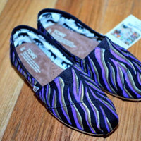 Zebra Stripe TOMS shoes custom hand painted toms by BStreetShoes