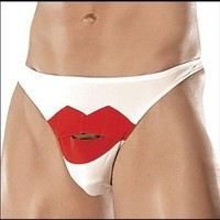 Amazon.com: Mens Lingerie Bikinis Mens Lips Bikini Black/Red: Clothing