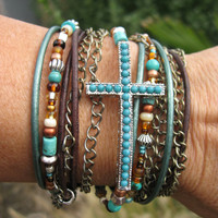 Boho - &quot;Mahogany&quot; - Endless Leather Wrap Bracelet