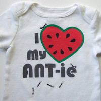 I Heart my ANTie Onesuit Watermelon red with Grays 03M by MoMoPics