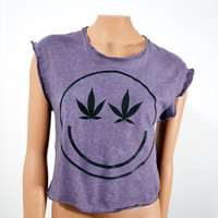 SALE Smiley Marijuana Weed Crop Top Sleeveless grunge Oversize T Shirt Black on Hand Dyed Grey with bleach spots Women's Loose Fit Small