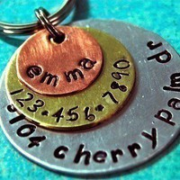 Custom Pet id tag / Multi Metal Triple Layered by PoochyCouture