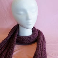 Chunky Purple Ribbed Scarf Ready to Ship by SunshineRoseDesign