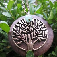 The Tree of Life Wood and Brass Necklace by LaurenElaineDesigns
