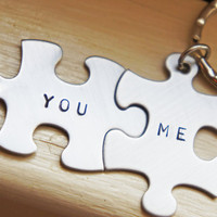 Personalized Puzzle Piece Keychain Custom Couple Best Friends Boyfriend Girlfriend Gift You Me Stainless Steel Key Chain Set