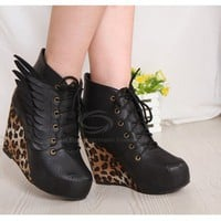Short Boots With Leopard Printed and Wings Design